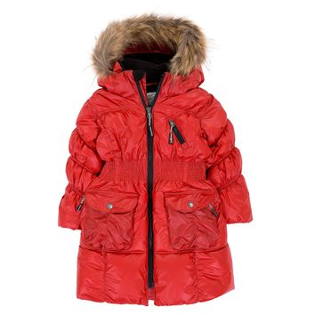 Deux Par Deux Fluffy Puffy Girls Long Coat Lipstick Red With Fur Trim Size 3 to 12 Years