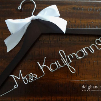 Wedding Dress Hanger with Satin Bow, Bride Hanger, Wedding Hanger, Mrs Hanger, Wedding Hanger, Name Hanger, Bride Gift