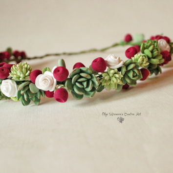 Succulent headwreath Marsala berries headband Flower crown Floral tiara Green Red headband Sumer flowers Rustic wreath