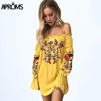 Aproms Gypsy Off Shoulder Floral Embroidery Dress Women 2017 Boho Long Sleeve Short Autumn Beach Dress Casual Sundress Vestidos