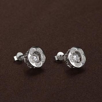 Pentagon Petal Swarovski Crystal Earrings