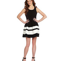 Sugarlips Fit-and-Flare Colorblock Dress