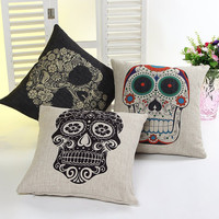Skull Cotton Linen Cushion Sofa Mat Cars Cushion Cover [8115976839]