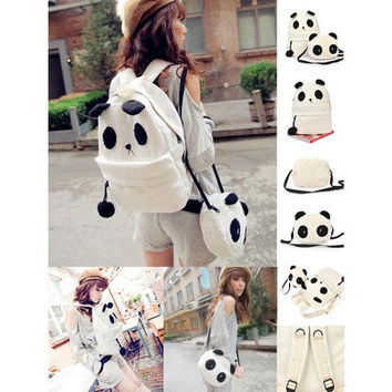 Panda Backpack Kawaii Cute White Black Bag Purse Animal Fluffy Fuzzy Soft Ears Pom Poms Furry Zippers Canvas (Color: White) [10198328967]