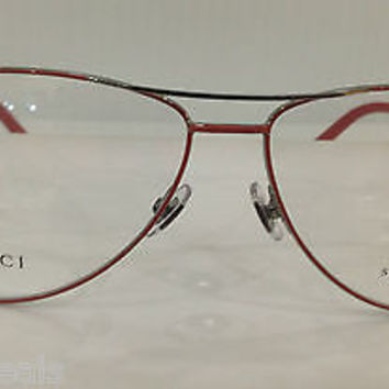 NEW AUTHENTIC GUCCI GG4218 COL L20 PINK W/SILV AVIATOR EYEGLASSES FRAME GG 4216