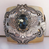 Steampunk Neo Victorian Gray Crystal Cuff by steamheat on Etsy