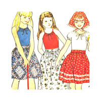 Butterick 5448 Uncut Vintage Pattern Girls T Shirt Long or Short Skirt and Scarf  Size 8