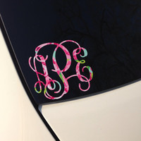 Lilly Pulitzer Inspired Monogram Vinyl Decal Sticker