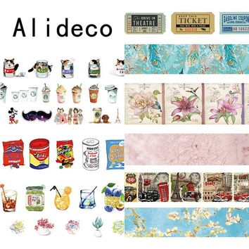 Alideco 1 pcs Washi Masking Tapes Retro Coffee Flower Decorative Adhesive Scrapbooking DIY Paper Japanese Stickers  1.5cm*10m