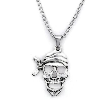 Pirate Necklace Skull Pendant Stainless Steel Vintage Gothic Punk Skeleton