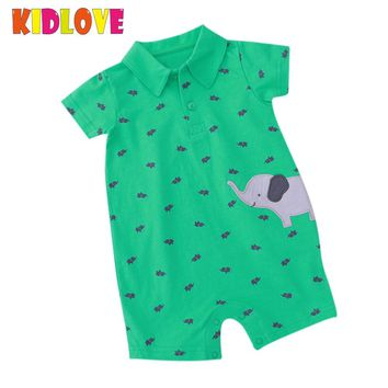 KIDLOVE Summer Baby Boy Romper Short Sleeve Cotton Green Jumpsuit Cartoon Elephant Printed Newborn Overalls Clothes ZK30