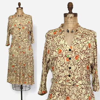 Vintage 40s Rayon DRESS / 1940s Brown & Tan Floral Print Jersey Day Dress L