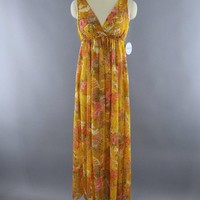 Vintage 1960s Golden Yellow Grecian Style Nightgown