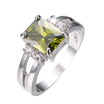 Vintage Peridot Ring White Gold Filled Cubic Zircon Stone Rings For Women Men Party Engagement Christmas Gift Anel Anies RW0250