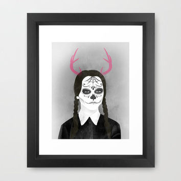 Wednesday Addams Framed Art Print by The White Deer