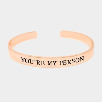 """""""You're My Pearson"""" Gold Dipped Metal Cuff Bracelet"""