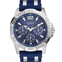 Guess Mens Masculine Sport Navy and Silver-Tone Watch