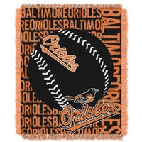Baltimore Orioles MLB Triple Woven Jacquard Throw (Double Play) (48x60)