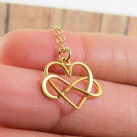 Heart and Infinity Necklace, Gold Heart and Infinity Symbol and Heart combined