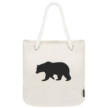 bear tote with rope handles, reusable bag, cottage tote, woodland tote, animal print, canvas bag, organic cotton, organic tote, rope handles