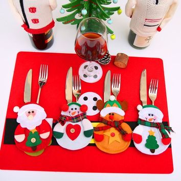 12pcs Christmas Decoration  Cutlery Suit Silveware Holders Porckets Knifes Folks Bag Snowman Dinner Decor Home Decoration