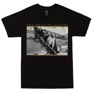 Rolling Stones Airplane Photo Band Logo Licensed Adult T-Shirt - Black