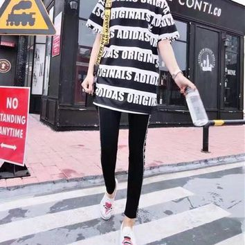 """Adidas"" Women Casual Stripe Letter Print Short Sleeve Trousers Set Two-Piece Sportswear"