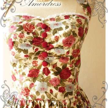 Once Upon A Time Vintage 50's Inspired Party Halter Neck Dress Rose Paradise w/ Little While Lace Dress for Any Occasion -Size M-