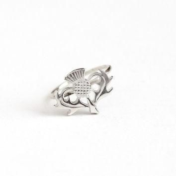 antique sterling silver top scottish thistle stick pin conversion ring size 6 edward