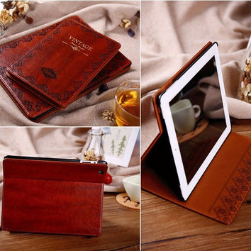 Retro Vintage PU Leather Tablet Case for iPad Air 1 2 Air2 Mosiso Ultra Book Flip Smart Cover Cases Wake Sleep
