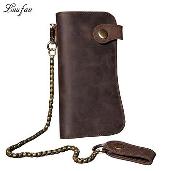 Men's Vintage crazy horse leather chain wallet Genuine leather Bifold long wallet Snap card holder purse zipper coin Rfid pocket