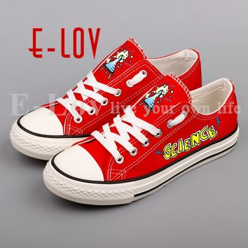 E-LOV Low Top Printed Science Element Symbol Canvas Shoes DIY Graffiti Abstract Signs Unisex Walking Shoes Casual Espadrilles