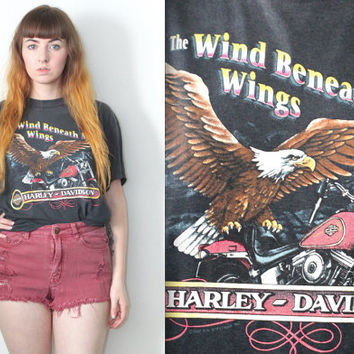 Vintage 90s Americana // 1990 Harley Davidson Eagle Graphic Tee // The Wind Beneath My Wings Shirt // One Size / XS Small Medium Large