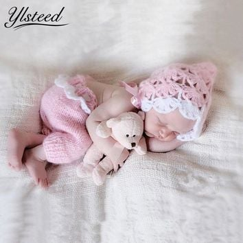 Crochet Newborn Hat + Pants Baby Set Winter Newborn Photography Props Knitted Baby Girl Boy Clothes Costume Infant Clothing