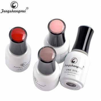 Fengshangmei One Step Gel Nail Polish 3 in 1 Color UV Led Varnish Soak Off Smalto Nail Gel 15ml