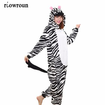 Hot Adult Pajamas Set Zebra Cosplay Cartoon Animal Onesuit Sleepwear Tiger Panda  Unicorn Pikachu Stitch Dinosaurs Rabbit Koala