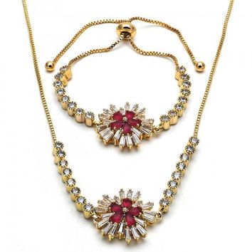Gold Layered 06.210.0009 Necklace and Bracelet, Flower Design, with Ruby and White Cubic Zirconia, Polished Finish, Golden Tone