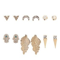 Gold Hamsa & Feather Stud Earrings - 6 Pack by Charlotte Russe