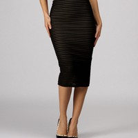 Sale-black Shadow Stripe Midi Skirt