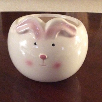 Easter Bunny Candy Bowl, Large White Hand Painted Ceramic, Easter Dish, Springtime Decorations, Flower Planter, Vase