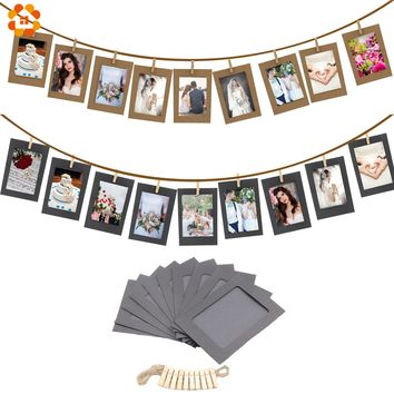 10PCS/set DIY Photo Frame Wooden Clip Paper Picture Holder For Wedding  Baby Shower Birthday Party Photo Booth Props Decoration