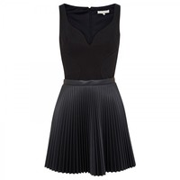 Pleated faux leather and jersey dress