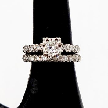 Vintage 14k GOLD DIAMOND RINGS Art Deco 14k White Gold Diamond Engagement Wedding Band Set Sz 5
