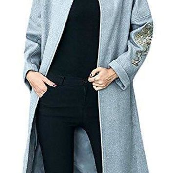Pandapang Women's Wool Blend Trench Coat Embroidery Open Front Outwear