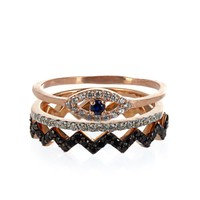 Rose gold-plated set of three rings | Aamaya by Priyanka | MATCHESFASHION.COM US