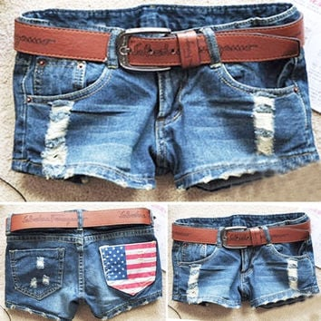 Women's Cool Denim Wash Distressed American Flag Low Waist Short Pants Jeans Trousers Hot Pant