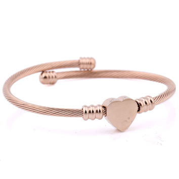 Stainless Steel Twisted Cable Wire Heart Charm Bracelet Bangle