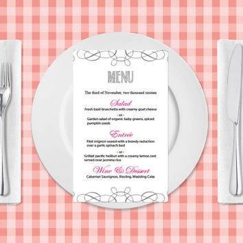 Wedding Menu Template- Silver Grey Swirls Printable Wedding Menu Card Templates - Editable PDF Templates - Instant Download - DIY You Print