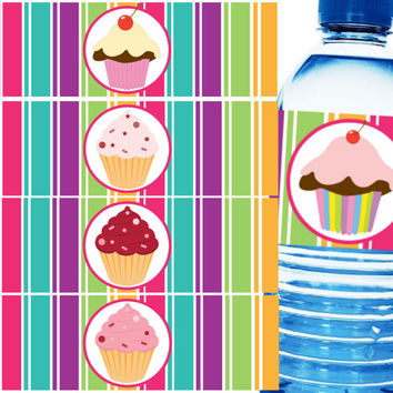 Cupcake Water Bottle Labels - Instant Download - Water Bottle Labels, DIY, Water Bottle Wrappers, Printable, Napkin Rings