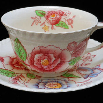 Vintage Teacup and Saucer Johnson Bros. in English Bouquet pattern